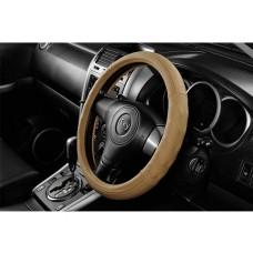 Чехол на руль  с рельефными вставками под пальцы, натур. кожа, размер S, беж. iSky iLW-18SBE