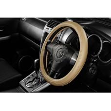Чехол на руль  гладкий с крупными строчками, кожзам, размер S, светл.-беж. iSky iSW-04SL.BE