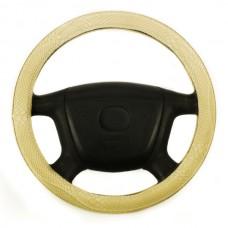 Чехол на руль  классич. дизайн, имитац. кожи змеи, кожзам, размер М, беж. iSky iSW-21MBE