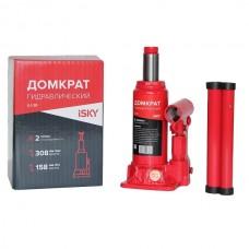Домкрат бутылочный гидравлический  2 т, от 158 до 308 мм, в картонной коробке iSky iLJ-2B