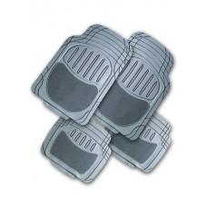 Коврики в салон, ПВХ+ворс, канавки для выреза  COMBO к-т 4 шт., сер. iSky iPM-03(GR)