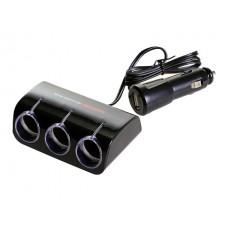 Разветвитель прикуривателя Wine USB & Triple Socket, 3 гнезда, с USB-входом, черный Autoban AW-Z03