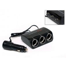 Разветвитель прикуривателя Wine USB & Triple Socket With LED, 3 гнезда, шнур с USB-входом, тумблеры, черный Il Shin AW-Z06