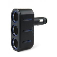 Разветвитель прикуривателя Carmate 3 Way Socket, 3 гнезда, с подсветкой, с изменяемым углом наклона, черный Carmate CT780(RU)