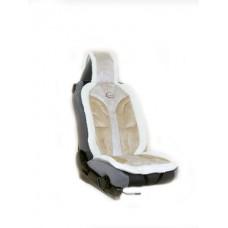 Накидка из алькантары+иск.мех на переднее сиденье  YAKUT, утолщ. поролон 4 см, 1 шт.,светло-коричн. Kaiteki ISWC-2701-B