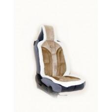 Накидка из алькантары+иск.мех на переднее сиденье  YAKUT, утолщ. поролон 4 см, 1 шт.,темно-коричн. Kaiteki ISWC-2701-C