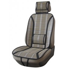 Накидка из бамбука на переднее сиденье  PANDA, упор под поясницу и шею, 1 шт.,черн.-беж. iSky iBK-02