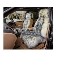 Накидка из натуральной овчины на переднее сиденье  SHEEPSKIN, длинный мех без подклада, 1 шт.,бел. с пепельн. iSky iSS-04WGS