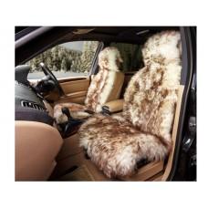 Накидка из натуральной овчины на переднее сиденье  SHEEPSKIN, длинный мех с подкладом, 1 шт.,бел. с рыж. iSky iSS-05WRP
