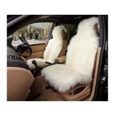 Накидка из натуральной овчины на переднее сиденье  SHEEPSKIN, длинный мех с подкладом, 1 шт.,бел.. iSky iSS-06WP