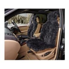 Накидка из натуральной овчины на переднее сиденье  SHEEPSKIN, длинный мех без подклада, 1 шт.,черн. iSky iSS-07BS