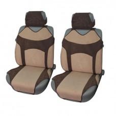Чехлы-майки на передние сиденья из велюра  VINTAGE, легкое надевание, отдельн.подголовник, поролон 2мм, 4 предм.,беж. iSky iSV-04BE