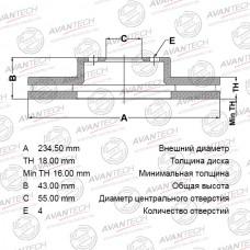 Диск тормозной Avantech BR0114