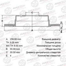 Диск тормозной Avantech BR0121