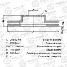 Диск тормозной Avantech BR0123