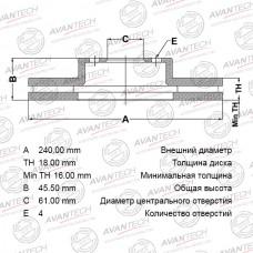Тормозной диск Avantech BR0224