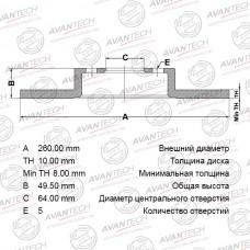 Диск тормозной Avantech BR0309