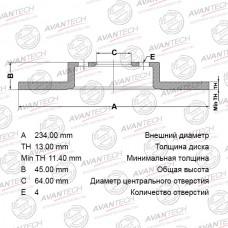Диск тормозной Avantech BR0537
