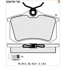 Колодки тормозные дисковые R BRAKE RB0789-700