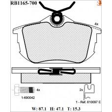 Колодки тормозные дисковые R BRAKE RB1165-700