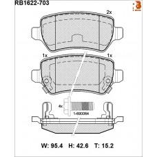 Колодки тормозные дисковые R BRAKE RB1622-703